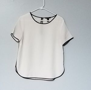 Forever 21 White with Black Trim Blouse